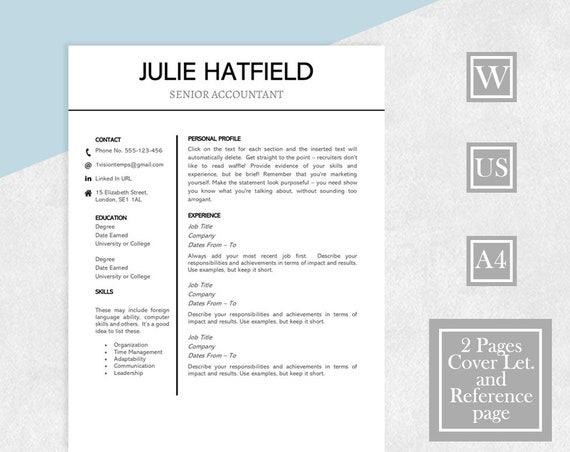 Simple Resume Template Template Resume Two Page Resume Etsy