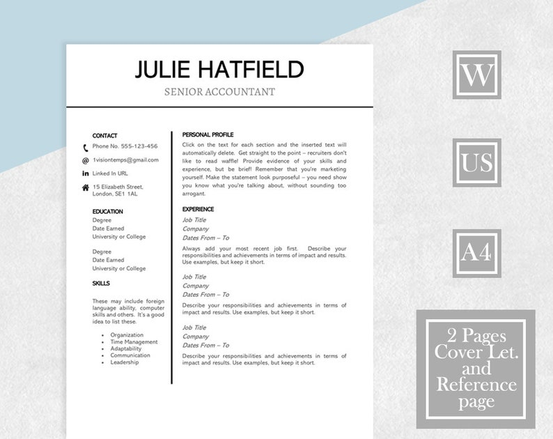 Simple Resume Template, Template Resume, Two Page Resume, Cover Letter,  References, Easy Resume, CV Resume, Instant Download, Resume Design