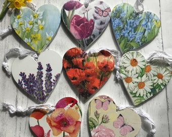 Floral hanging hearts/ 3 for 10 gifts/ hanging hearts/ gift for flower lover/ decorative hearts/ flower home decor