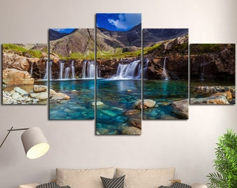 Multi Panel Canvas Decor Mountain Waterfall Print Art House Wall Decoration Set Gift For Her Picture Nature Home