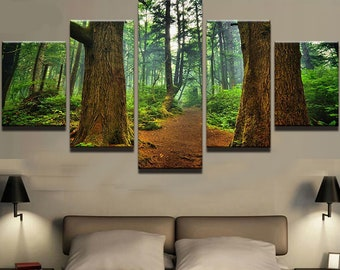 Forest Walk Canvas Set Wall Art Forest Trees Wall Print Nature Home Decor  Print Artwork Framed Decor 5 Panel Canvas HD Poster Home Gift Tree