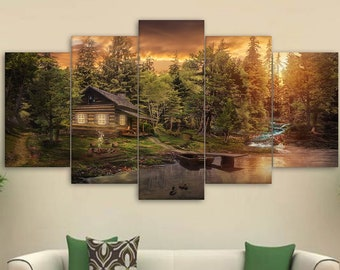 Cabin In The Woods Canvas Set Wall Decor Forest Gift For Home Her Art 5 Panel Framed Print Painting