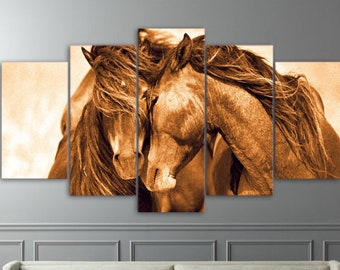 Horse Snuggle Canvas Set, Horse Wall Art, Horse Wall Print, Horse Home Decor,  Gift For Him, Gift For Her, Horse Lover Gift Canvas Print Art