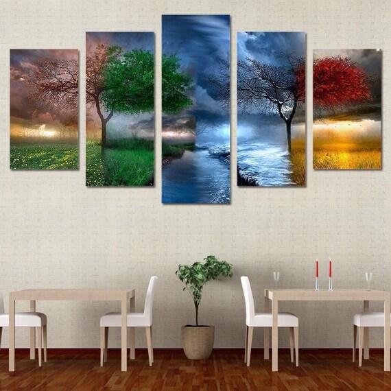 Four Seasons Canvas Set 4 Seasons Wall Decor Four Seasons   Etsy
