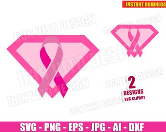 Breast Cancer SUPER GIRL Ribbon (SVG dxf png) Survivor Awareness Hope Cut File Vector Clipart T-Shirt Design Pink Logo Superwoman Silhouette