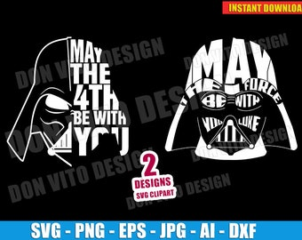 dac5481ee Star Wars Day Logo Darth Vader Head (SVG dxf png) May The Fourth Be With You  Cut Files Vector Clipart T-Shirt Design Boy vinyl decal stencil