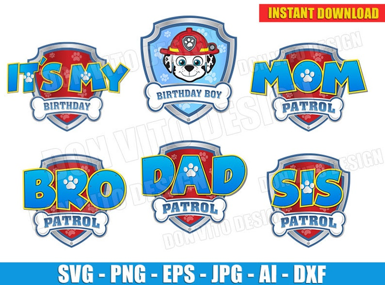 Logo Paw Patrol Party Boy (SVG dxf png) It's My Birthday Cut Files Marshall  Face Shield Vector Clipart T-Shirt Family Names Mom Dad Bro Sis