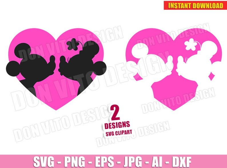 6c80ea9ad Mickey   Minnie Mouse Love Heart SVG dxf PNG Disney