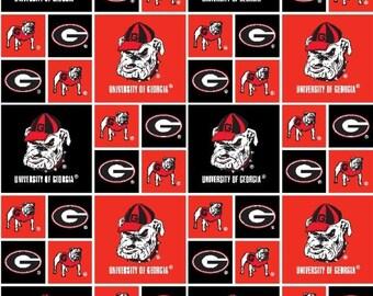 6e3661bd824 Georgia Bulldogs NCAA GA Block 43 inches wide 100% Cotton Fabric GA-020