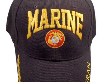 6df9df3aec216 Marine Veteran Embroidered with logo cap and with adjustable back strap