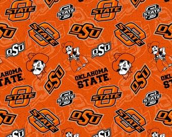 Oklahoma State Cowboys NCAA  Bandana Paisley Design 43 inches wide 100/% Cotton Fabric OSU-1200