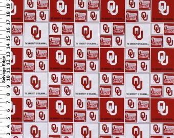 35401e5e0a8c5d Oklahoma Sooners NCAA Box 43 inches wide 100% Cotton Fabric OU-020