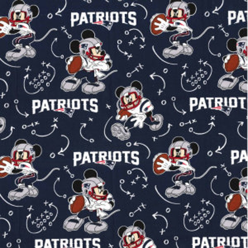 2b020bb7 New England Patriots NFL Disney Mickey Mouse Mash-up 44 inches wide 100%  Cotton Fabric NFL-70189-D