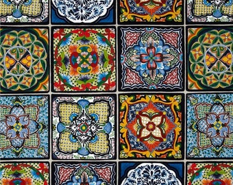 Mexican Tiles Fiesta by Elizabeth's Studio 44 inches wide 100% Cotton Fabric 264 Blue
