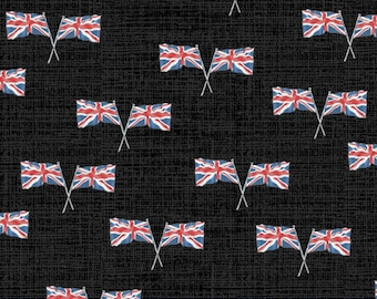 London Union Jacks United Kingdom Flags in black by Whistler Studios for Windham Fabrics 44 inches wide 100% Cotton Fabric WF-52347-5