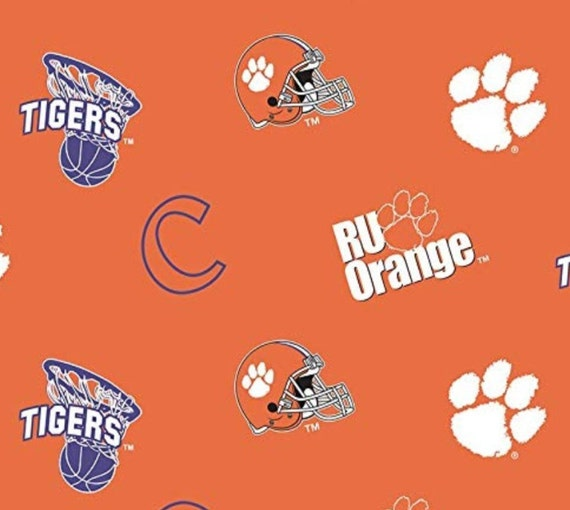 NCAA Clemson Cotton Fabric-Clemson Tigers Cotton Quilting Fabric-CLEM1178