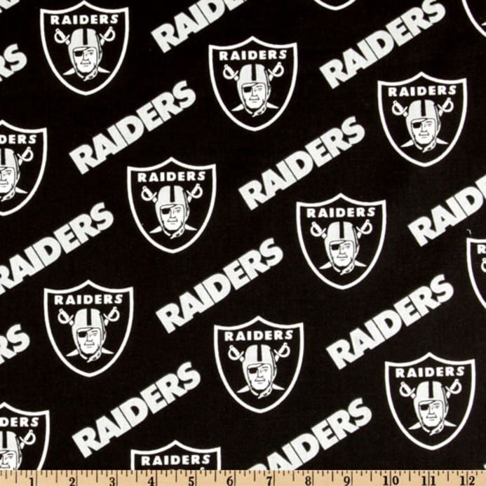 bf500b26 Oakland Raiders NFL Logo and Name Design 58-60 inches 100% Cotton Fabric  NFL-3513D