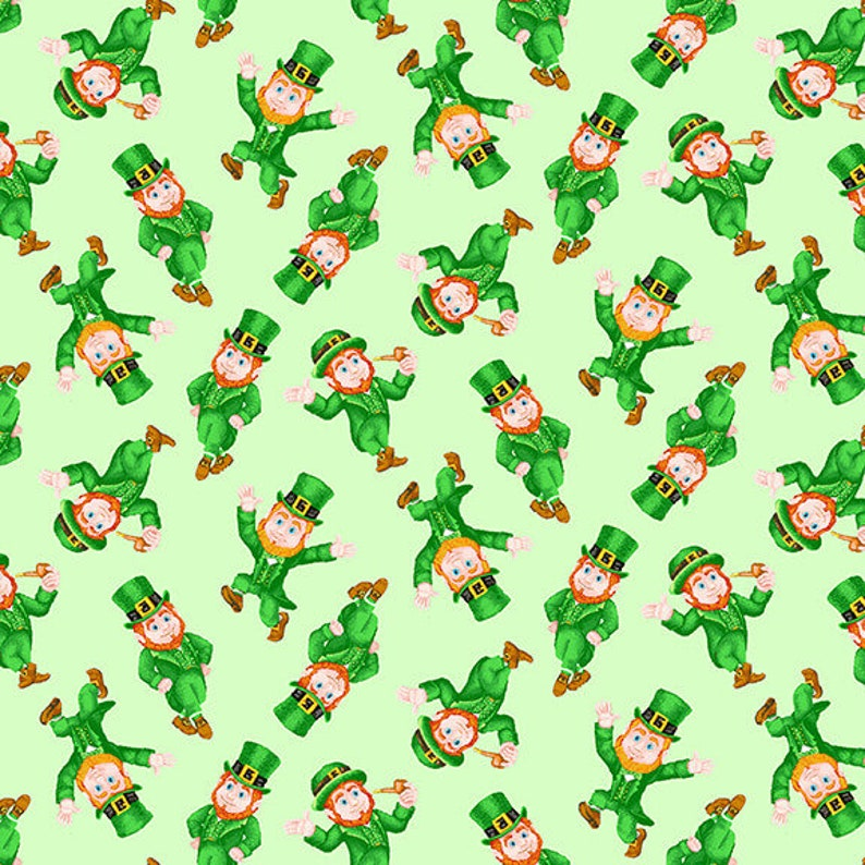 Pot of Gold Small Tossed Leprechauns on Light Green by City Art for Henry Glass 44 inches wide 100/% Cotton Fabric HG-9369-66