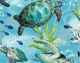 Swimming Sea Turtles in Blue by Timeless Treasures 44 inches wide 100% Quilting Cotton Fabric TT-C7955 Blue