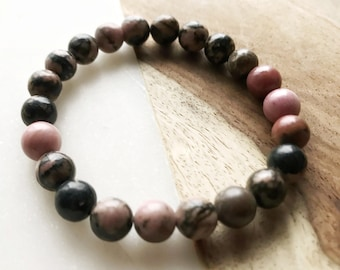 Mala of pink and black Rhodonite 8mm - A-1126