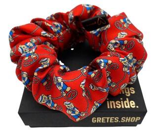 Teddy bear silk scrunchie, ponytail holder, 100% silk