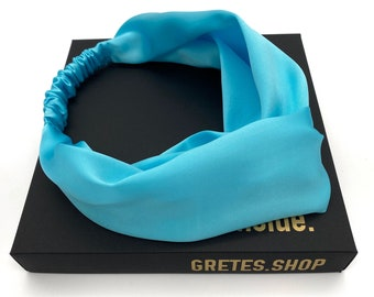 Boho turquoise silk headband, spa headband