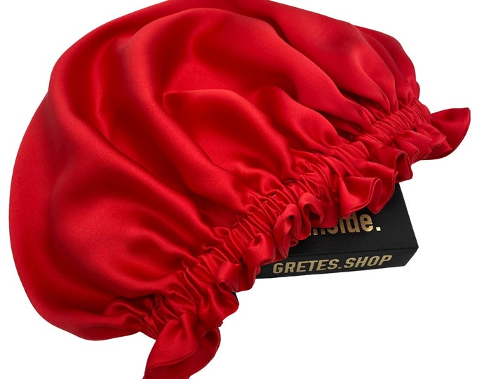 Featured listing image: Red silk bonnet, silk head wrap, sleep silk bonnet, silk turban