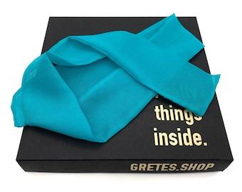 Summer blue silk headband