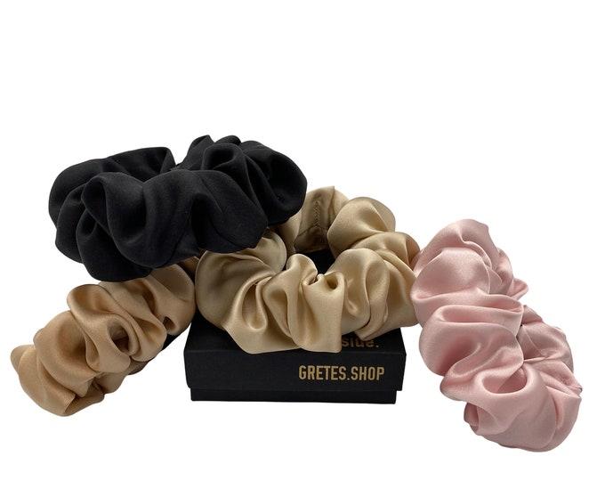 Featured listing image: Silk scrunchies, silk ponytail holder, 100% silk