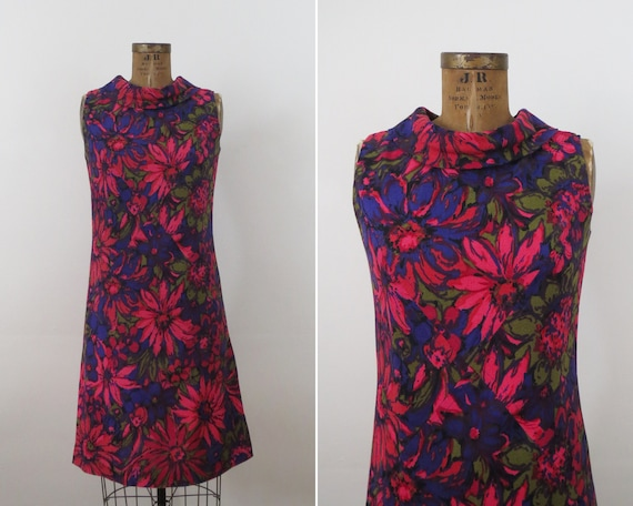 60s Vivid Floral Print Collared Shift Dress Daisy