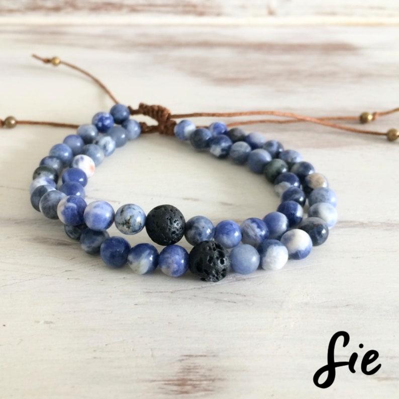 Handmade Beaded Bracelet Knot Beaded Bracelet for Couple Sodalite Stone Bracelet Meaningful Bracelet