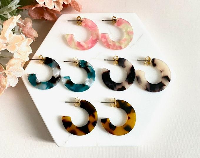 Hera Tortoise Hoop Earrings, Acetate Earrings, Tortoise Shell Earrings, Tortoise Shell Hoop Earrings, Minimalist Cute Hoop Earrings, For Her