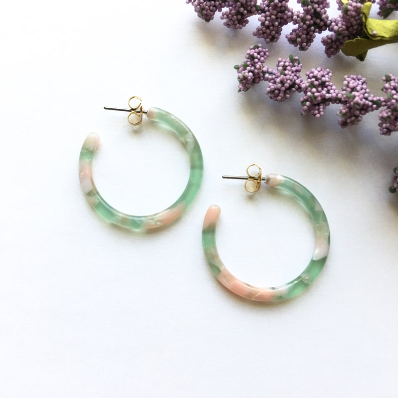 753c284e4 30mm Small Green Peach Tortoise Hoop Earrings Tortoise Shell | Etsy