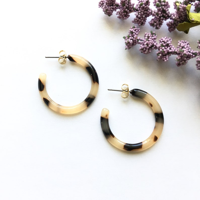 b881260b0 30mm Small Ash Blonde Tortoise Shell Hoop Earrings Tortoise | Etsy