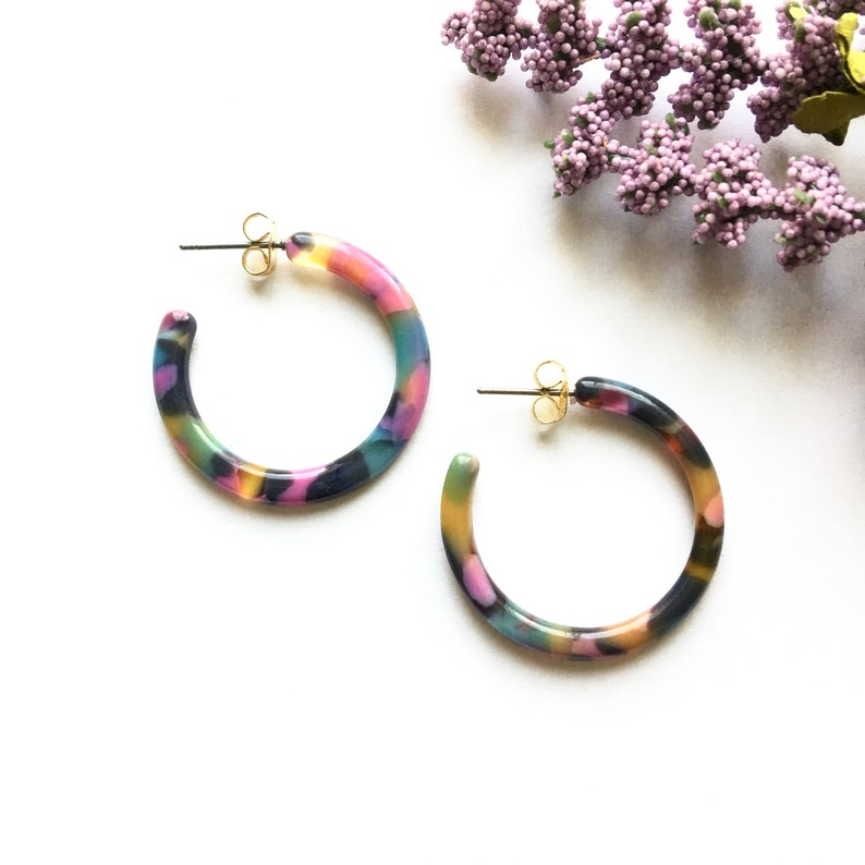 095b77438 30mm Small Multi Color Tortoise Shell Hoop Acetate Earrings / | Etsy