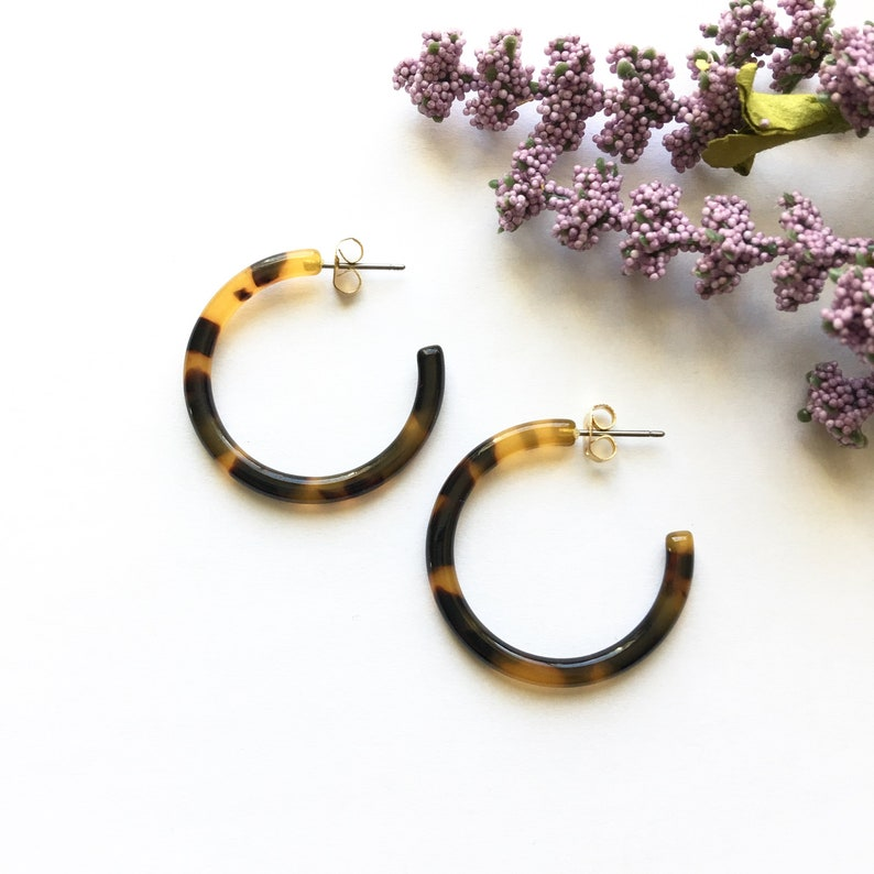 a995fe1d6 30mm Small Dark Brown Tortoise Shell Hoop Earrings | Etsy