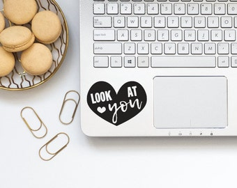 LOOK at YOU Heart Vinyl Decal / Sticker for Laptop, Car, Window / Heart Silhouette / Self Love Heart Decal / Heart Vinyl Decal for Yeti