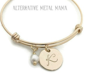 Gold Plated Monogrammed Bangle Bracelet