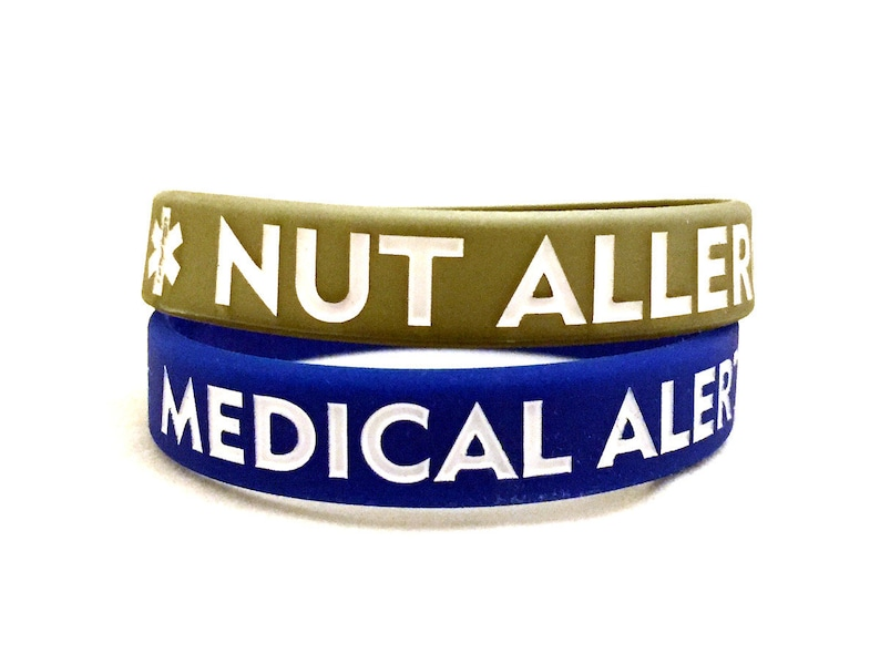 CLEARANCE! Youth/Small Adult Nut Allergy Silicone Bracelet (Lot of 2)