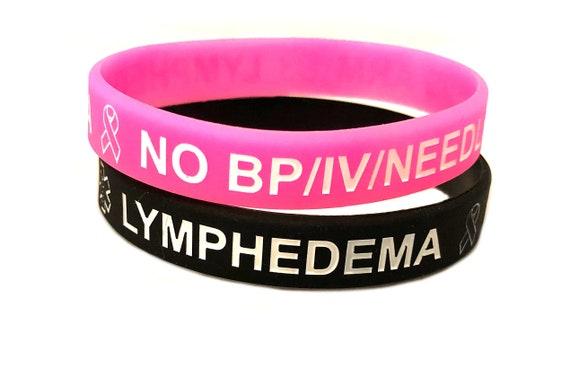 Medical ID Filigree Stainless Pink Symbol Rolo Bracelet Lymphedema No BP IV