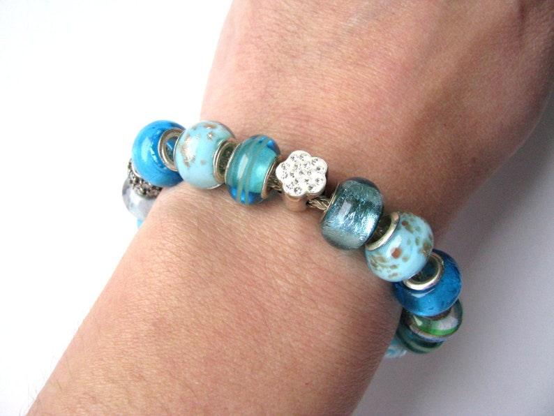 Murano glass beaded bracelet Glass beaded bracelet 925 sterling silver glass bracelet Luxury vintage lampwork beads bracelet Venetian glass