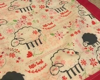 Beige White Sheep Baby Blanket Flannel Receiving Swaddling Gender Neutral Baby Gift Idea Lamb Theme Baby Shower Gift Farm Theme Nursery gift