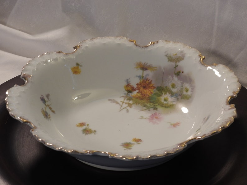 Ornate Rosenthal Monbijou Bavaria Floral Center Bowl With Ornate Double ScallopedRuffled Gold Trim Rim Hand Painted Bavaria Bowl