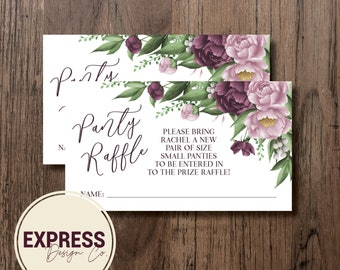 Mauve Floral Bridal Shower Panty Raffle