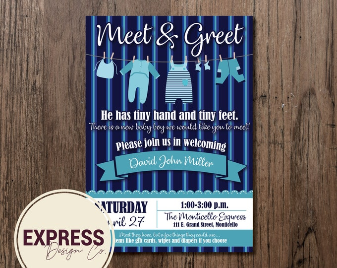 Meet & Greet Baby Boy Baby Shower Invitation