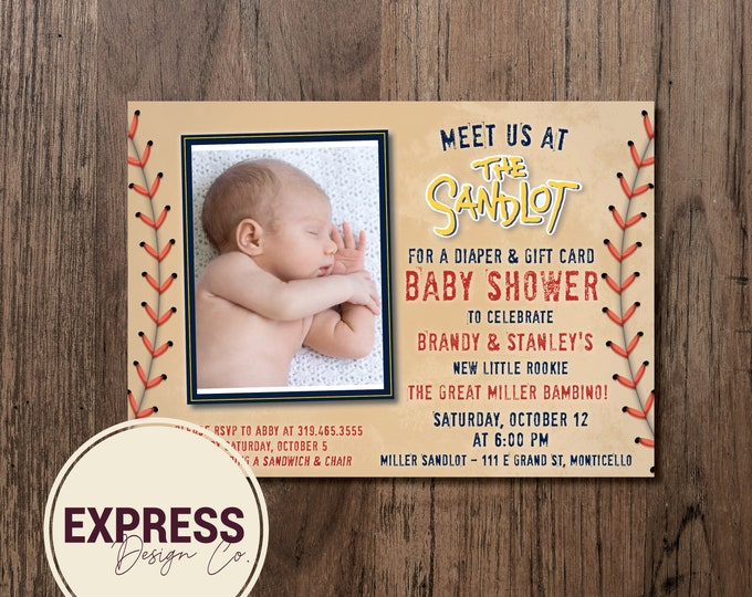 Photo Meet Me at the Sandlot Baby Shower Invitation