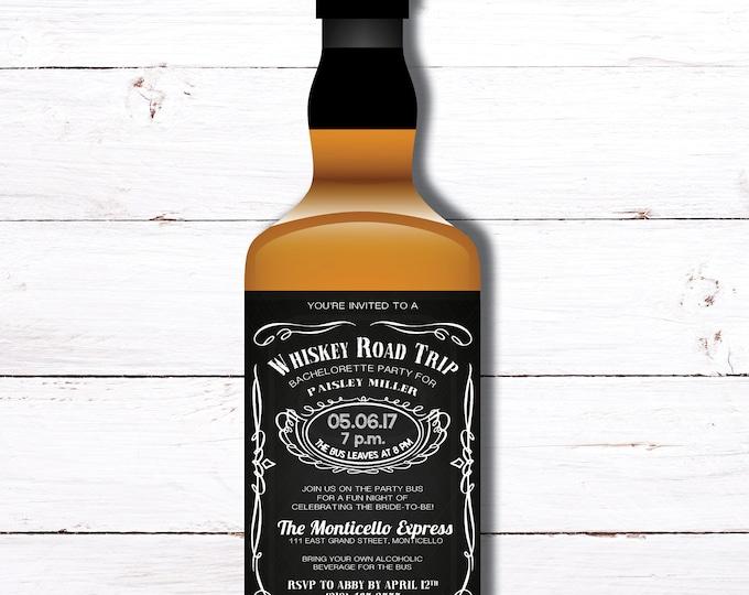 Whiskey Road Trip Whiskey Bottle Label Bachelorette Invitation