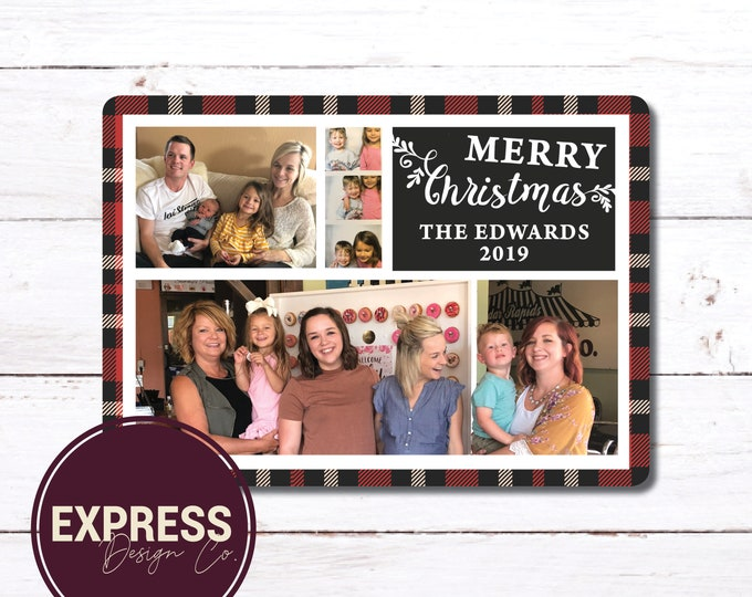 Red Buffalo Check Family Photo Christmas Card