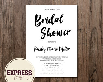 Simple and Elegant Bridal Shower Invitation