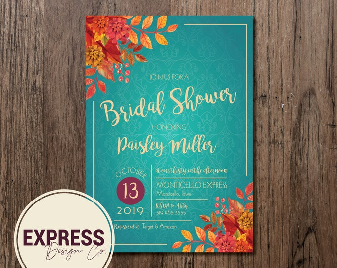 Teal and Floral Bridal Shower Invitation